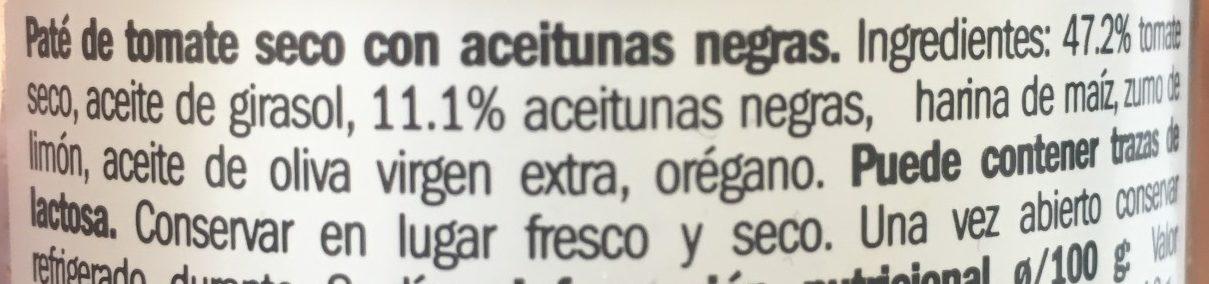 Pâté de tomates sèches aceitunas negras - Ingredientes