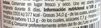 Pâté de tomates sèches aceitunas negras - Voedingswaarden