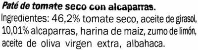 Paté de tomate seco alcaparras - Ingrediënten - es