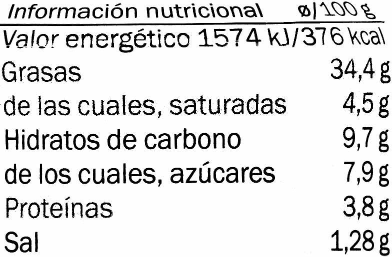 Paté de tomate seco alcaparras - Voedingswaarden - es