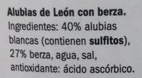 Alubias de León con berza - Ingredients