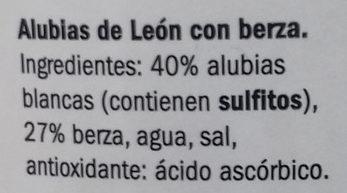 Alubia de León con berza - Ingredients - es