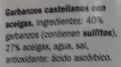 Garbanzos de Castilla con acelgas - Ingredientes - es
