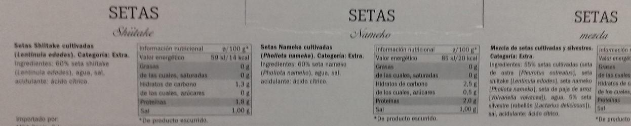 Pack de setas - Ingredientes - es