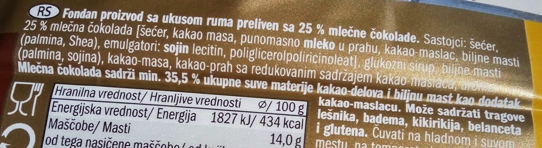 RUM bars - Ingredients - sr