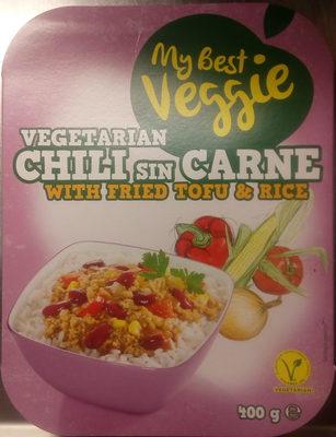 My Best Veggie Vegetarian Chili sin Carne with fried Tofu & Rice - Produit - sv