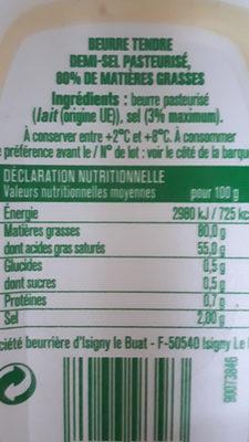 Beurre tendre Demi-sel - Ingredients - fr