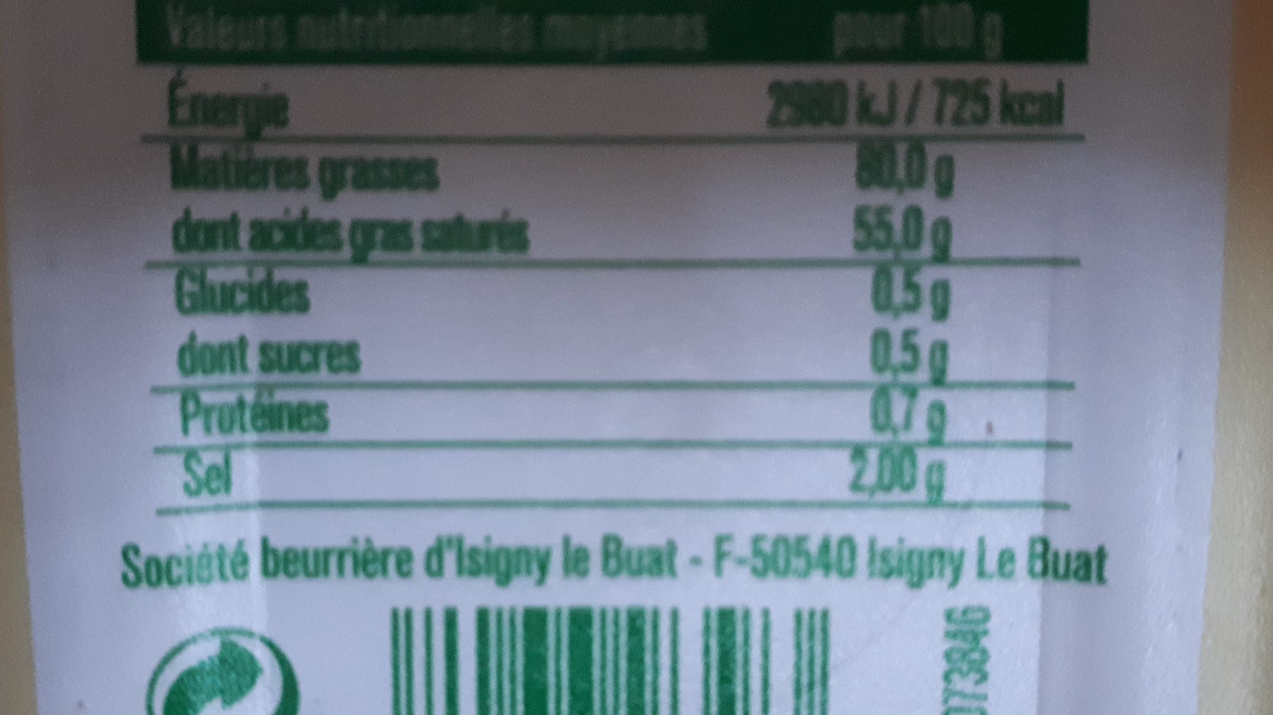 Beurre tendre Demi-sel - Nutrition facts - fr