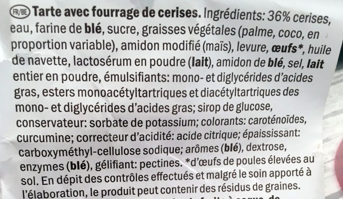 Tarte au cerises - Ingredients - fr