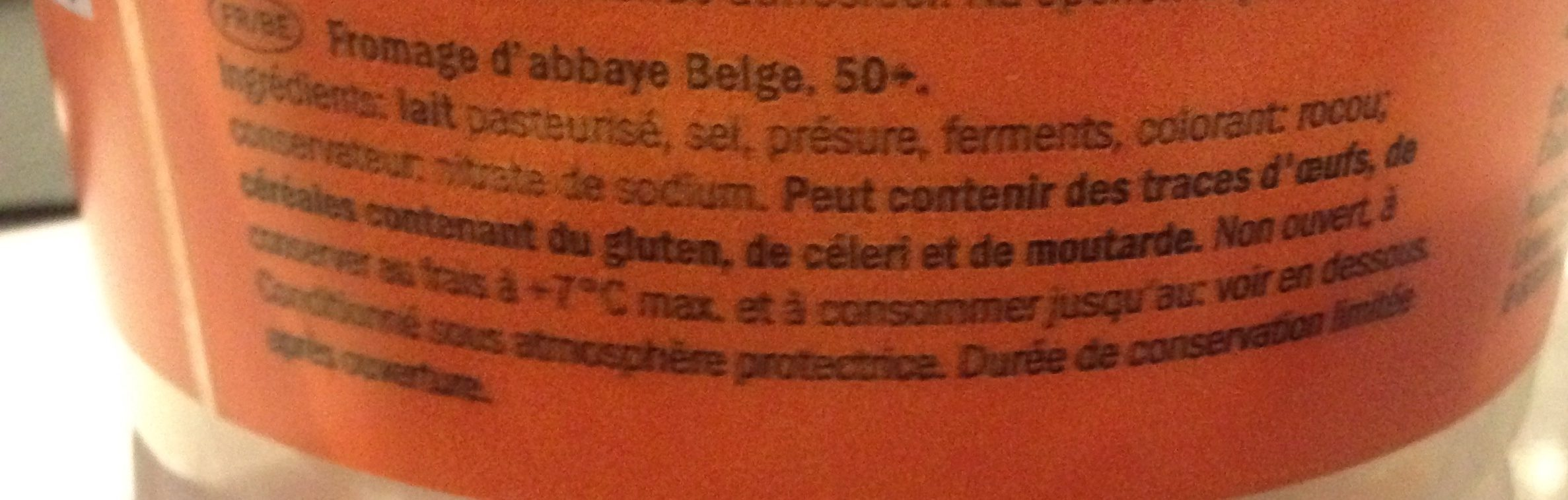Fromage d'abbaye (30% MG) - Ingrédients - fr
