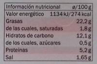 Hummus con guindilla - Información nutricional - es