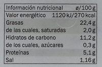 Hummus con aceitunas de Kalamata - Información nutricional