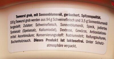Teewurst Lidl - Zutaten