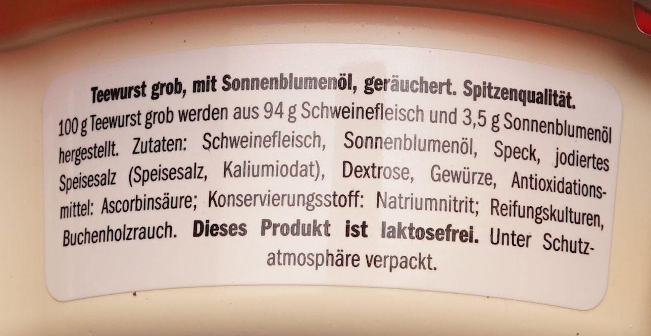 Teewurst Lidl - Zutaten - de