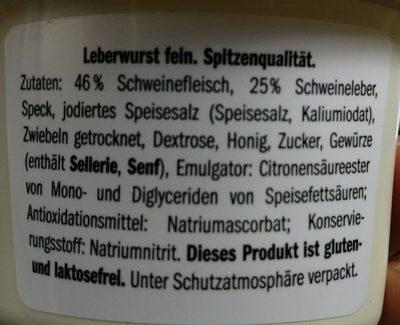 Leberwurst, pâte de foi - Ingrédients - fr