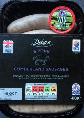 6 OUTDOOR BRED CUMBERLAND BRITISH PORK  SAUSAGES - Product - en