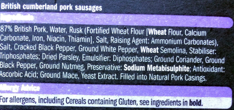 6 OUTDOOR BRED CUMBERLAND BRITISH PORK  SAUSAGES - Ingredients