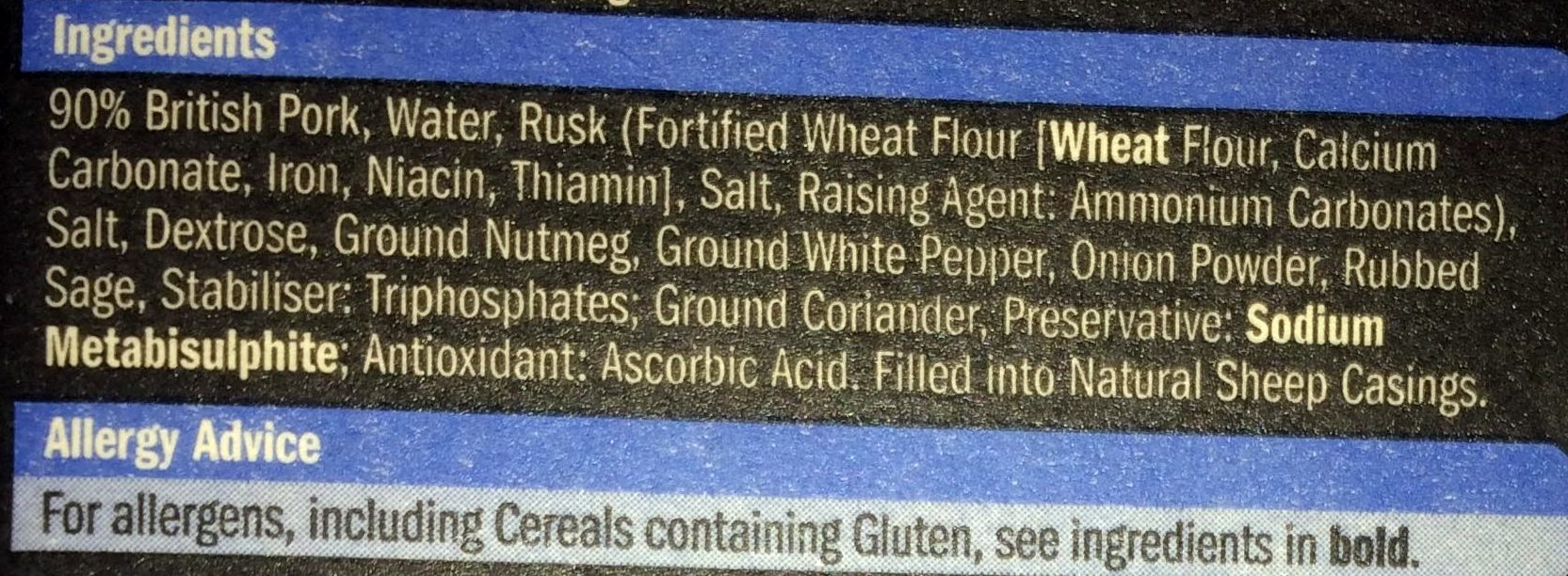 10 pork chipolatas - Ingredients