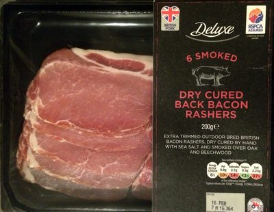 6 smoked dried cured back bacon rashers - Product