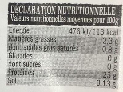 Steak de Bœuf à Griller - Nutrition facts