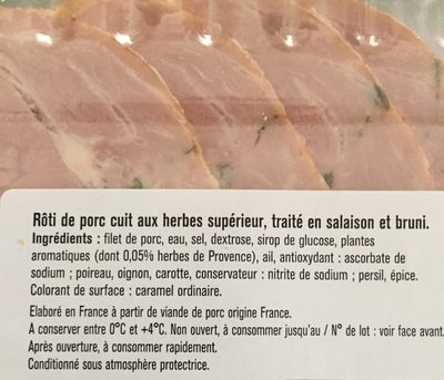 Rôti de porc aux herbes - Ingredients