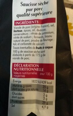 Saucisse Sèche Droite LabelRouge - Informations nutritionnelles - fr