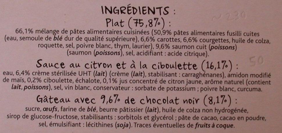 Fusilli saumon & légumes sauce au Citron - Ingredients