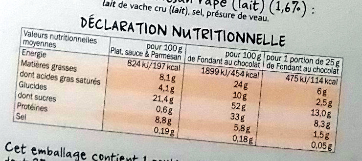 Radiatori 3 Fromages Sauce au Parmesan + 1 fondant au chocolat - Nutrition facts