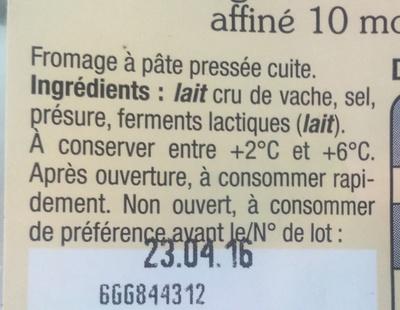 Coeur de Savoie - Ingrediënten - fr