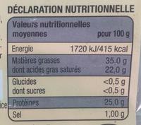 Coeur de Savoie - Voedingswaarden - fr