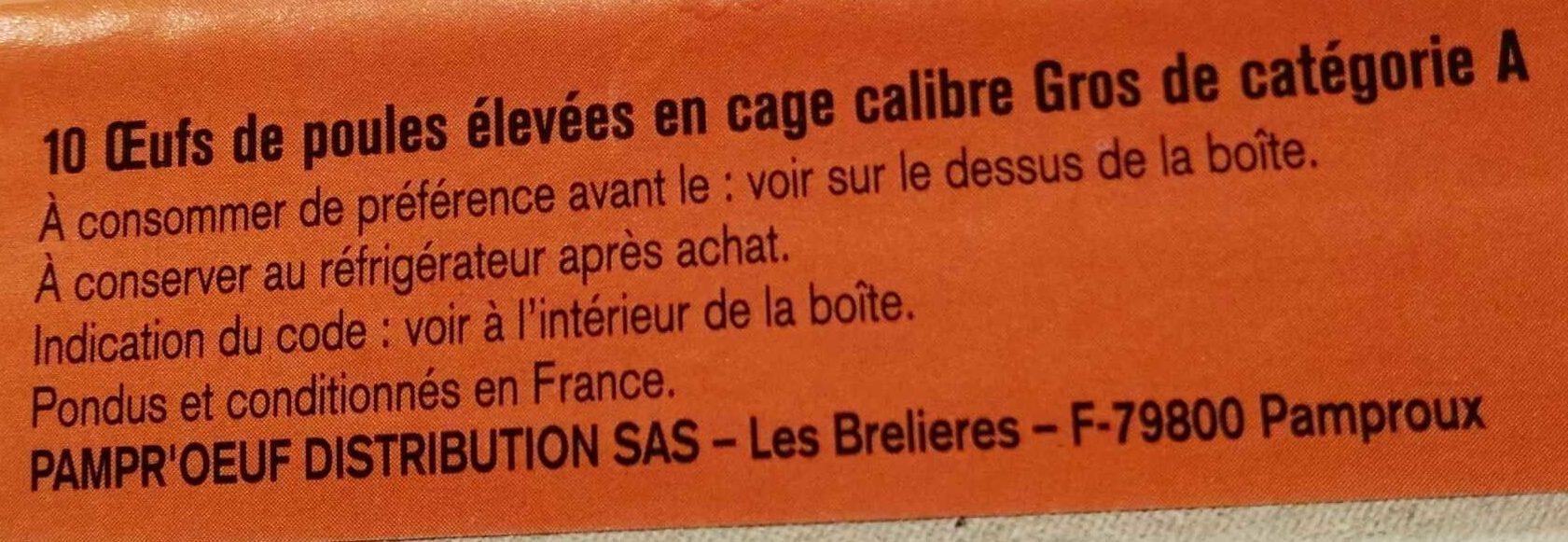Œufs frais calibre gros - Ingrediënten - fr