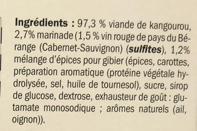 Sauté de Kangourou mariné au vin rouge et épices - Ingrediënten - fr