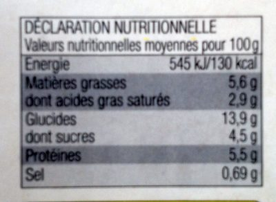 Lasagnes aux 2 Saumons - Informations nutritionnelles - fr