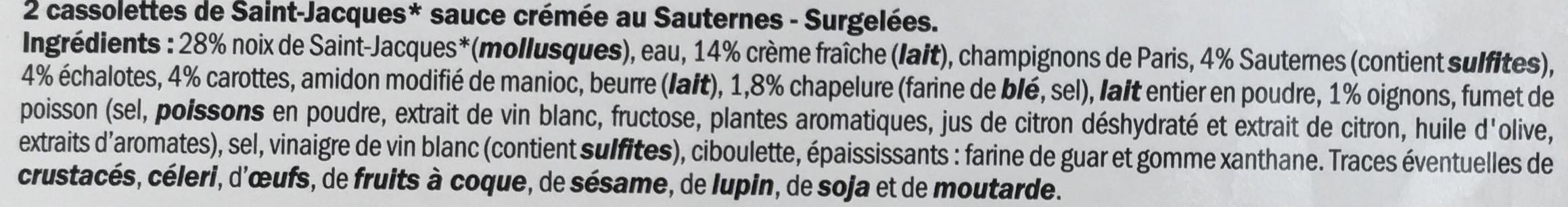2 Cassolettes aux Noix de Saint-Jacques sauce crémée au Sauternes - Ingrédients