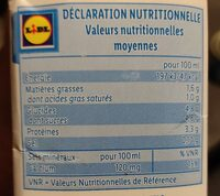Lait demi-ecrémé 1l - Nutrition facts - fr