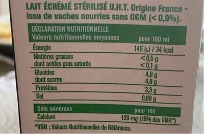 Lait écrémé 1L - Nutrition facts - fr