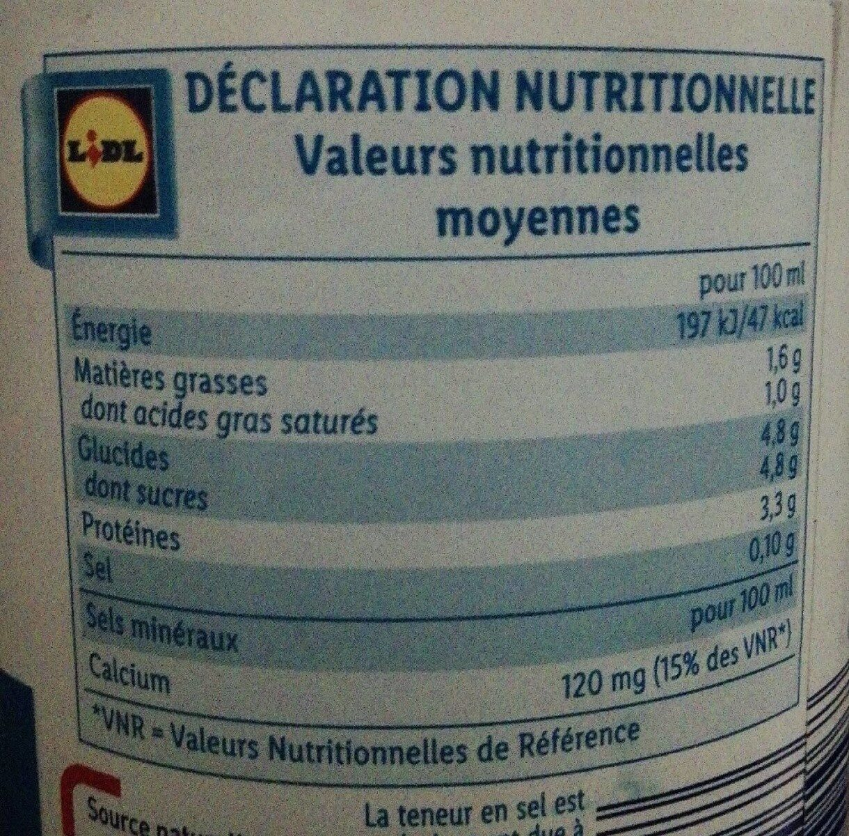 Lait demi ecreme - Valori nutrizionali - fr