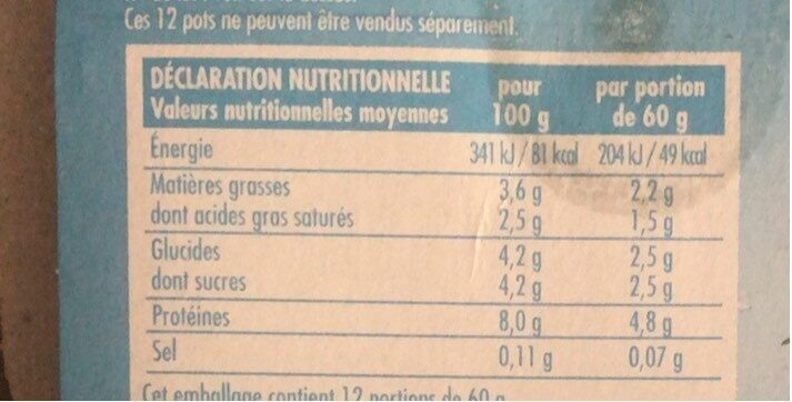 Petits fromages frais - Nutrition facts - fr