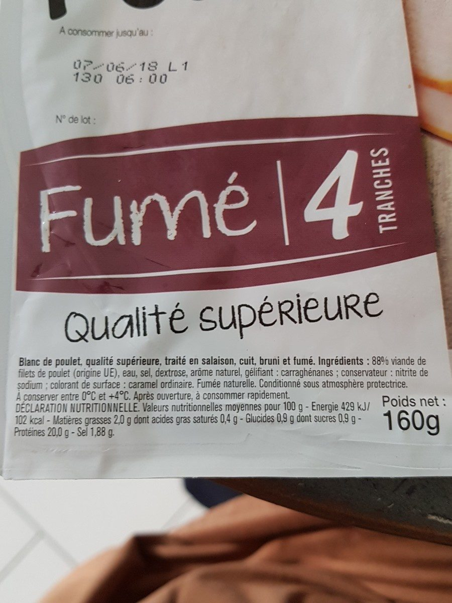 Blanc de poulet fumé - Ingredients - fr