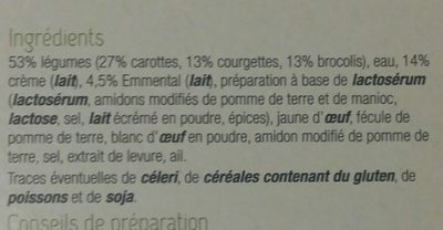 Mini Gratins aux 3 Légumes - Inhaltsstoffe - fr