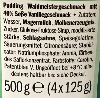 Milbona Pudding Waldmeister - Ingrediënten - de