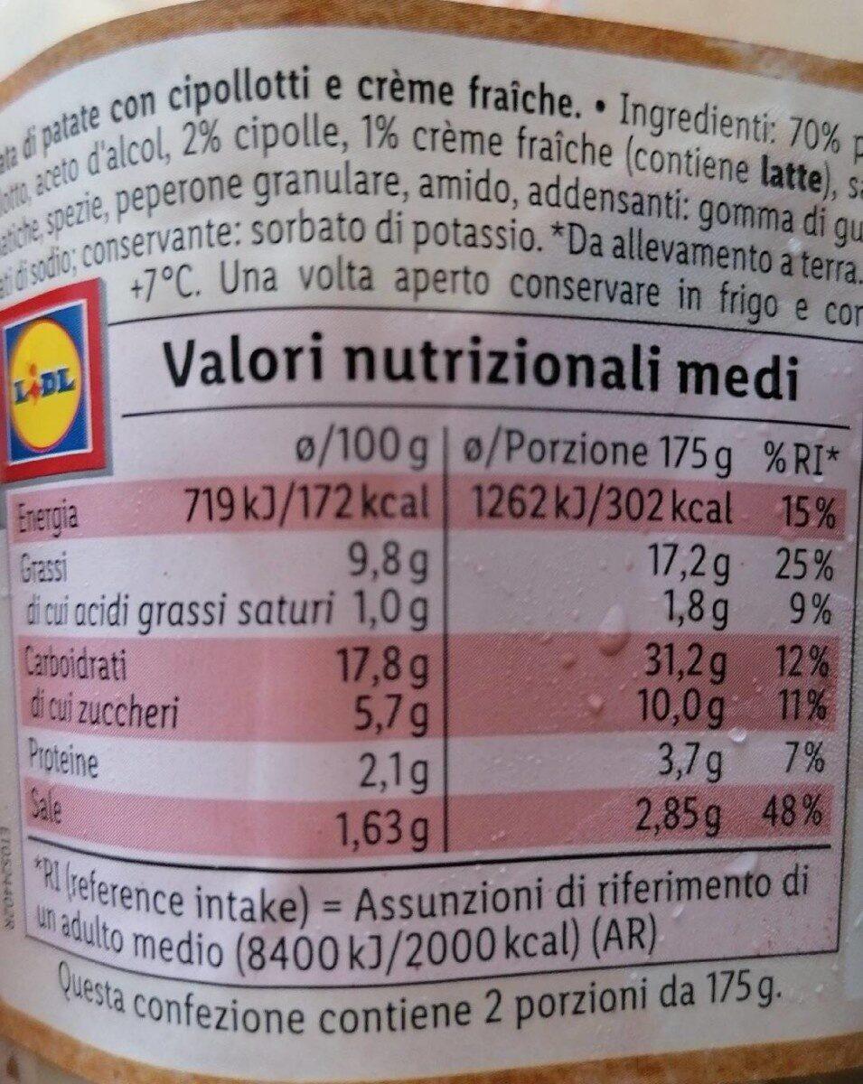 Insalata di patate e crème fraiche con cipollotti - Nährwertangaben - de