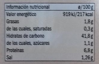 Tortelloni rellenos Garbanzos y jengibre - Información nutricional