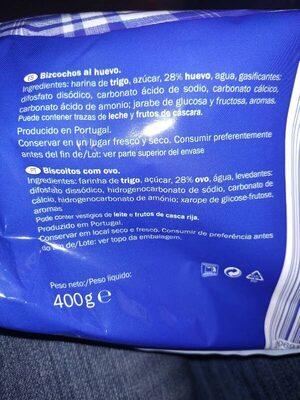 Bizcochos - Ingredientes - es