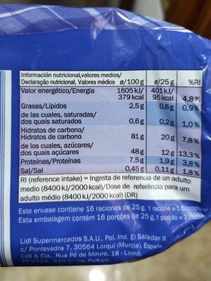 Bizcochos - Información nutricional - es