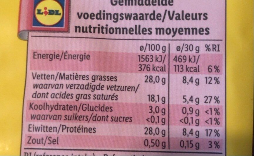 Fromage Rapée - Nutrition facts - fr