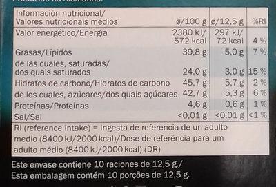 Chocolate negro Menta 56% - Información nutricional