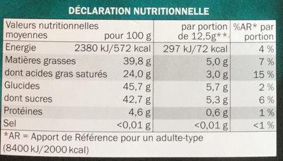 Chocolat noir intense à la menthe - Nutrition facts - fr
