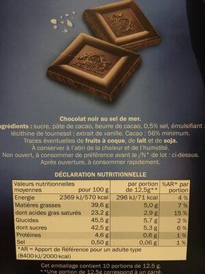 Chocolat noir à la pointe de sel - Složení - fr