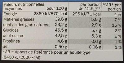 Chocolat noir à la pointe de sel - Výživové údaje - fr